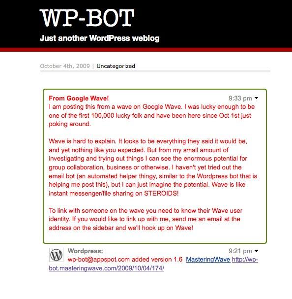 A snapshot of my experimental WordPress post via Google Wave